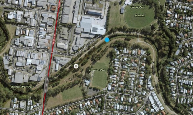 The blue dot shows the location of a confirmed platypus sighting in Kedron Brook and the white dot shows researchers' water sampling site