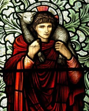Detail from the 'Good Shepherd' created in 1914, originally designed by Edward Burne-Jones.