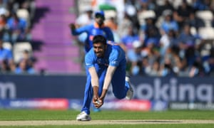 India bowler Jasprit Bumrah prepares to swoops and catch out Afghanistan batsman Hashmatullah Shaidi.
