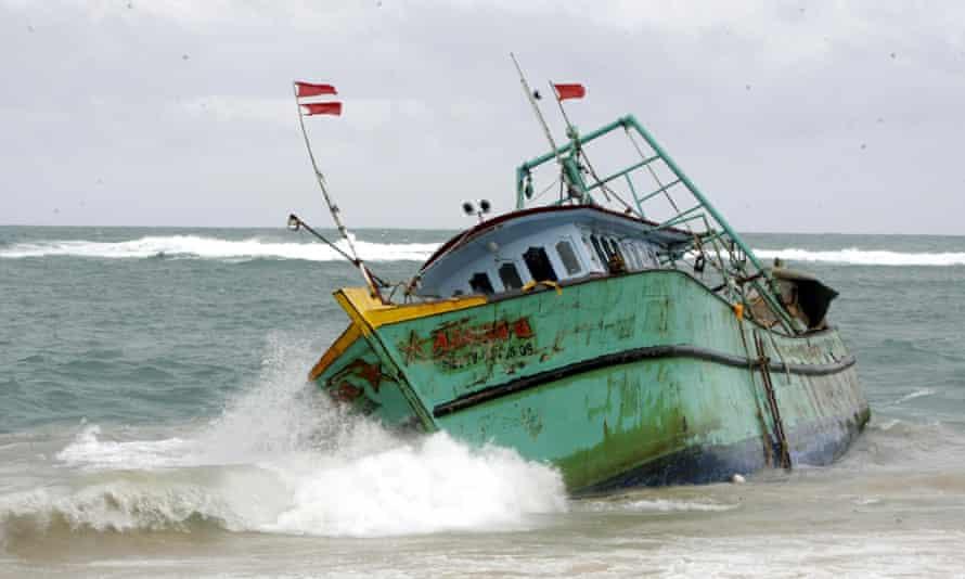 A Sri Lankan asylum seekers boat in stranded in Aceh, Indonesia.
