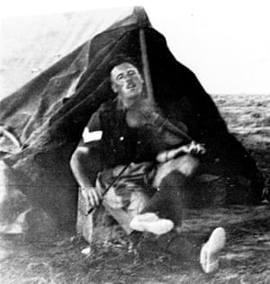 Tommy playing his violin during his time in the Western Desert, Egypt, 1940-1943
