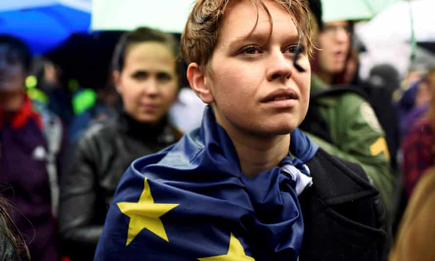 Demonstrators take part in a protest in Trafalgar Square following the EU referendum.