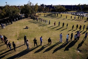 Voters wait in a long line to cast their ballots at Church of the Servant in Oklahoma City, Oklahoma, on 3 November