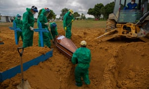 A coronavirus victim is buried in Manaus, Brazil.