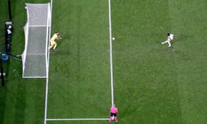 England's Bukayo Saka misses a penalty resulting in Italy winning the penalty shootout.