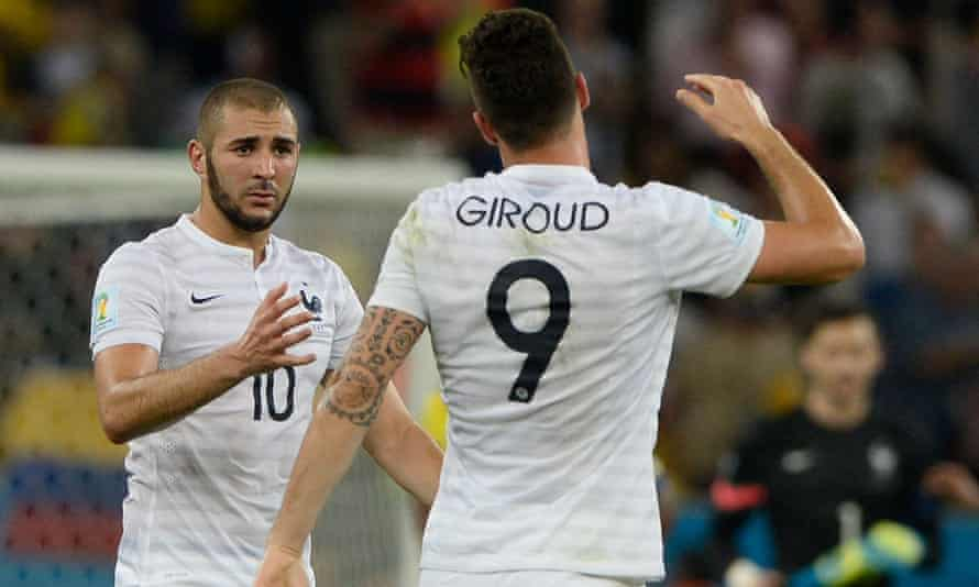 karim benzema and olivier giroud playing together for france in 2014.