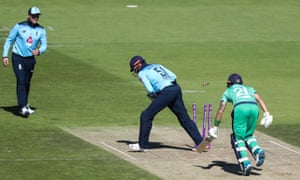 Ireland's Simi Singh is run out for a duck.