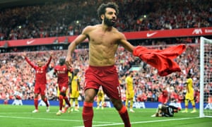 Mohamed Salah celebrates after doubling the Reds' lead.