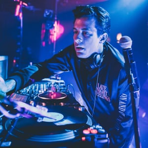 Mark Ronson DJing … 'It's hard to do it wrong at Glastonbury.'