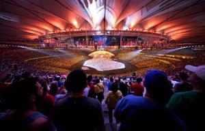 The crowd enjoy the scene at the Maracanã.