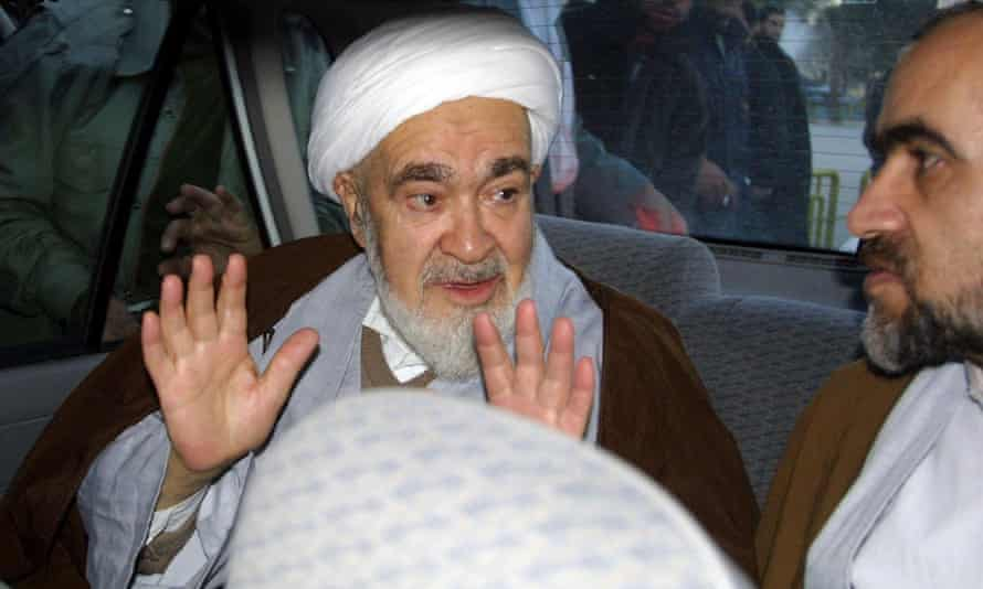 Iran's late dissident cleric, Ayatollah Hossein Ali Montazeri, pictured in his car in January 2003 after being released from house arrest.