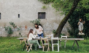 Ancient and modern: an al fresco lunch with Katrin, Laura and Sofia at the family's house. The old monastery has previously also been a mill.