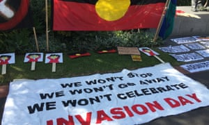 Scene from Invasion Day protest in Melbourne. Protests against Australia Day are being held across the country.