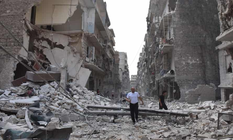 The aftermath of an airstrike in Aleppo, Syria.