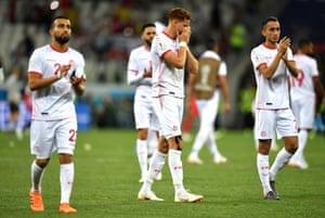 Disappointment for Tunisian players Fakhreddine Ben Youssef, Naim Sliti and Saifeddine Khaoui.
