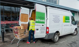 Food bank van being filled outside a Sainsbury's supermarket in Heyford Hill