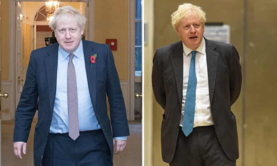Boris Johnson pictured in November last year (on the left ) and on Tuesday.