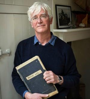 Simon Crowhurst with his father's log book