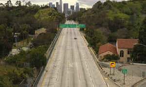 The usually congested Harbor Freeway in central Los Angeles pictured during lockdown.