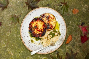These marinated and barbecued celeriac steaks with white beans and salsa verde.
