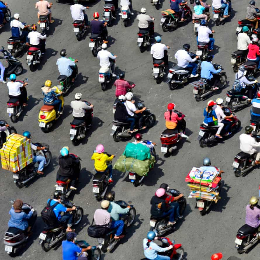 A sea of mopeds in central Ho Chi Minh City