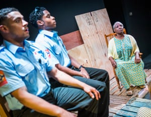 Touching … Nathan Welsh and Ammar Duffus as trapped paramedics, and Miquel Brown storyteller Essie.