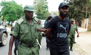 Pilato is arrested at a rally in Lusaka in September 2017