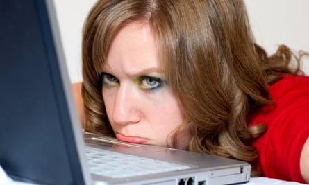girl angry with computer