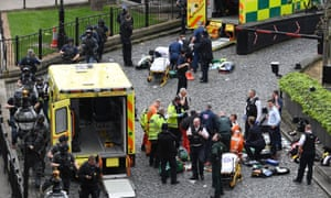 Ambulances attend victims of the attack