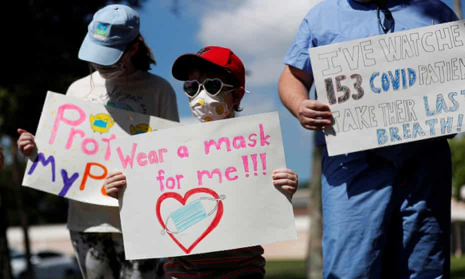 Students and others rally for masks in Pinellas County, Florida.