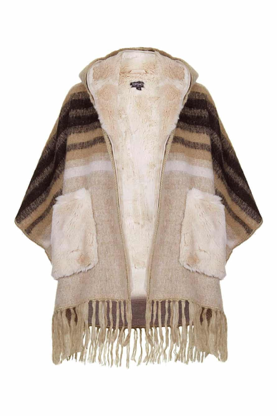 Topshop Faux-Fur Lined Wool Mix Cape, £98.