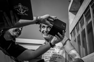 Grayson Perry takes a moment for a fan selfie