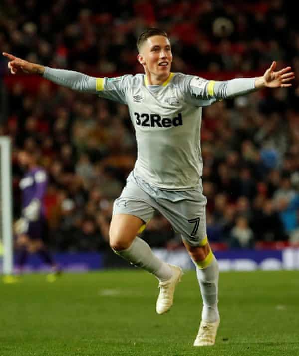 Derby County's Harry Wilson celebrates scoring against Manchester United in September