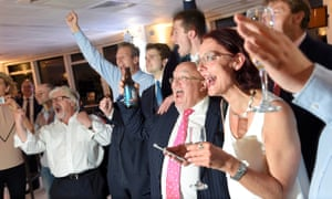 Leave supporters celebrate the result in Sunderland after polling stations closed