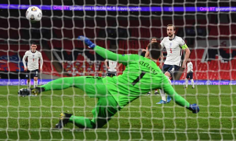 Harry Kane scores for England with a penalty against Poland in their World Cup qualifier at Wembley.