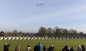 Four USAF F-15 Strike Eagle jets fly over the graves of three US aircrew buried in Coton, Cambridgeshire, who perished when the Mi Amigo crashed in Sheffield's Endcliffe Park in 1944