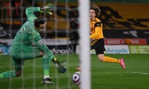 Wolverhampton Wanderers' Fabio Silva scores their side's second goal.
