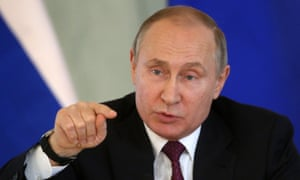 Russian President Vladimir Putin pictured at a meeting in St Petersburg on Friday