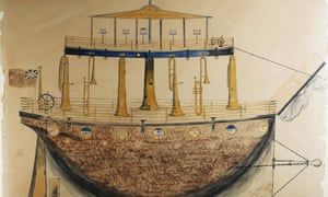 Design for a 'musical boat', 1869. Pencil and bodycolour on paper (copy)