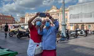 Tourists wear a mask in Toulouse, France on 21 August 2020.