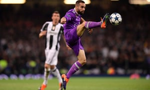 Real Madrid's Dani Carvajal controls the ball against Juventus.