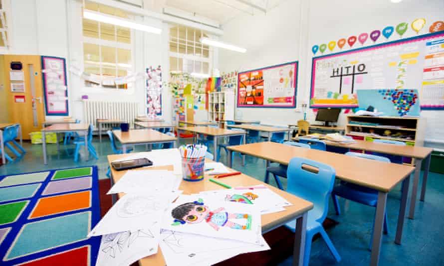An empty school classroom in east London