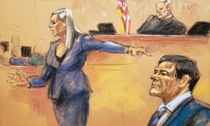 Courtroom sketch of assistant US attorney Amanda Liskamm pointing at the accused Mexican drug lord Joaquín 'El Chapo' Guzmán while delivering a rebuttal in Brooklyn federal court on 31 January.