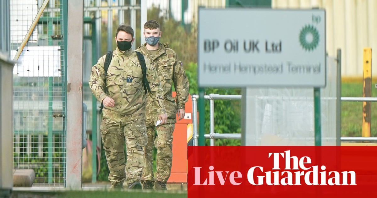 Military arrives to ease fuel crisis, as shortages continue across London and south-east – business live