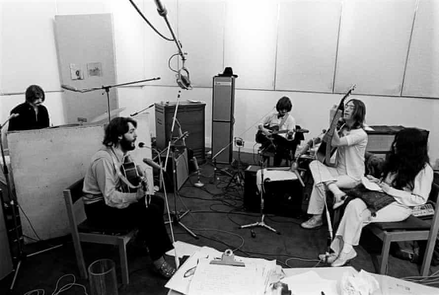 The Beatles at Apple Studios, 24 January 1969.