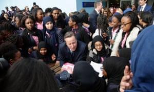 David Cameron with Harris Academy pupils in Bermondsey, south London
