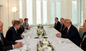 Donald Trump, US Secretary of State Mike Pompeo, Us National Security Adviser John Bolton and Robert Frank Pence US ambassador to Finland participate in a breakfast with Finland's President Sauli Niinisto in Helsinki