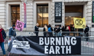 Extinction Rebellion and Stop HS2 activists protest outside the Science Museum, London, where Boris Johnson was launching the COP 26 climate summit strategy.