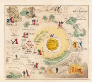 A plan of the road from the City of Destruction to the Celestial City from an 1850 edition of John Bunyan's The Pilgrim's Progress.