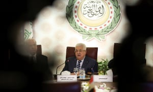 Mahmoud Abbas attends the Arab League's foreign ministers meeting in Cairo.